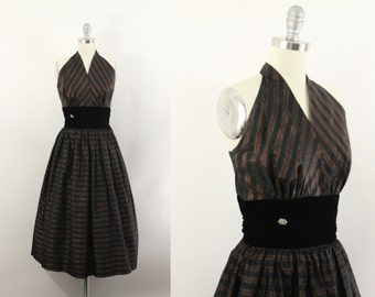 50s dress and jacket - 1950s taffeta black and copper party dress - halter dress - new years eve dress