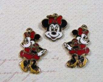 MINNIE MOUSE JEWELRY, Dangle Earrings and Pendant, early 1990's, Vintage Character, Disney Jewelry