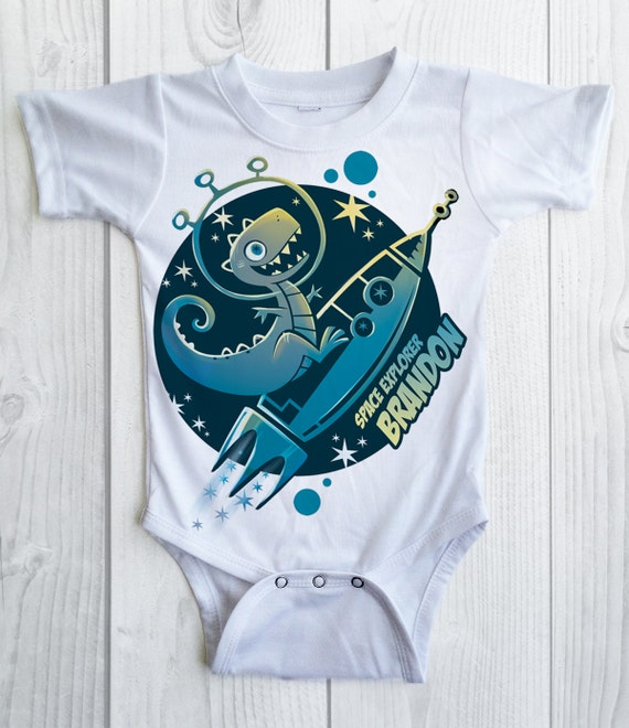 Dinosaur birthday shirt - Space personalized birthday shirt - dino on a rocketship