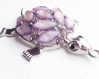 Purple Rhinestone Turtle Pendant / Huge / Focal Piece Perfect for Necklace or Keychain / Lilac Pastel Shimmery / Big Large
