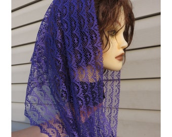 Black or Purple Scalloped Modest  lace Headcovering - Church or Chapel veil mantilla scarf NEW single or double  looped