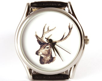 Watch, Deer, Vintage Style Leather Watch, Women Watches, Unisex Watch, Boyfriend Watch, Silver Case , Gold Case, Black, Brown