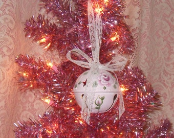 Shabby Cottage Chic Victorian Pink Rose Hand Painted Pale Pink Large Sparkle Bell Ornament