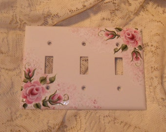 Shabby Cottage Chic Hand Painted Pink Rose Triple Light Switch Cover New