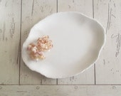 Vintage Ironstone Platter White Scalloped Plate Farmhouse Chic Gallery Wall Decor