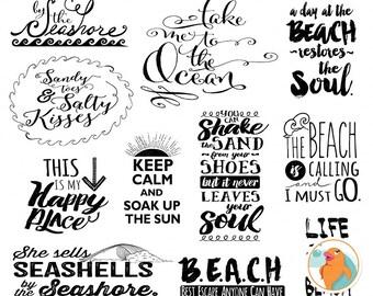 Beach Typography Word Art, Summer Inspirational Quote, Digital Scrapbook Title, Project Life WordArt Digital Stamp Printable, DIY