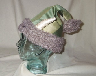 Green Krampus Hat- Santa Hat with Horns