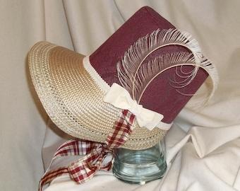 Burgundy and Ivory Stovepipe Bonnet- Regency, Georgian, Jane Austen Era Bonnet