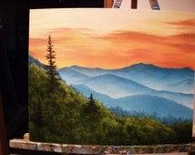 Sunrise, Sunset, Trees, Smokey Mountains Original Landscape Oil Painting