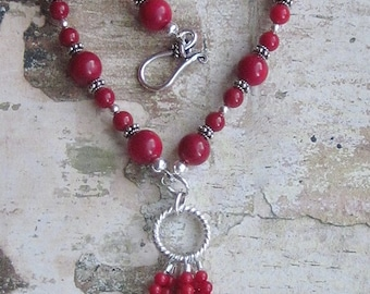 Little coral tassel Necklace -- Red Coral Necklace Sterling