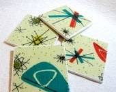 "Atomic Starburst Drink Coasters - Great Gift Idea - Ceramic Tile & Barkcloth - Set of 4 -- approx 4"" x 4"""