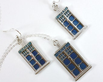 Police Box Pendant and Earrings Set