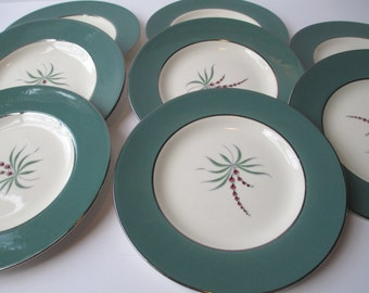Vintage Homer Laughlin Pink Green Floral Bread & Butter Plates Set of Eight