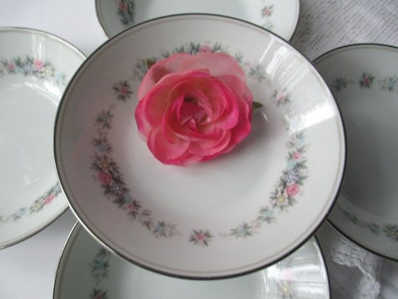 Vintage Noritake Cynthia Pink Blue Floral Berry Bowls Set of Five