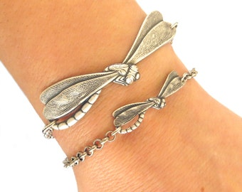 Steampunk Small Dragonfly Bracelet- Dragonfly Anklet- Sterling Silver Ox or Antiqued Brass Ox Finish- Smaller of 2 pictured