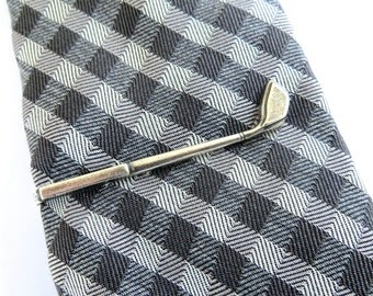 Golf Driver Tie Clip- Golf Club Tie Bar- Sterling Silver Ox Finish- Customize