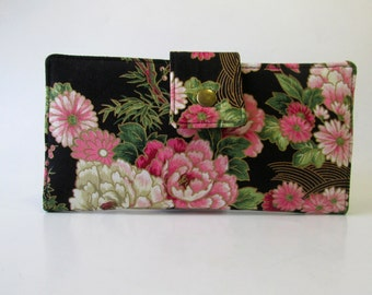 ON SALE - Handmade wallet - Pink roses black garden with gold details - Women wallet - ready to ship - gift for her