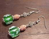 Celtic Knot Earrings in Copper, Green, and Silver