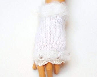 Hand Knit white Gloves, Mitten Fingerless Gloves, Arm Warmer, Winter Accessories Fall Fashion, Holiday Accessories