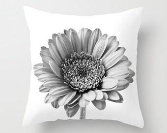 Cushion Cover, Black and White Gerbera Daisy Photo Pillow Case, Contemporary Home Decor, Shabby Elegance, Botanical Art, Anniversary Gift