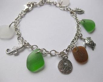 Sterling Silver Charm Sea Glass Bracelet - beach glass jewelry seaglass Beach Glass Jewelry, Handmade Custom Jewelry