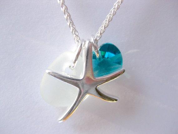 Seaglass Starfish pendant Birthstone Necklace Starfish Jewelry Handmade, boho jewelry