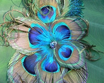Peacock feather facinator, large hair clip,  beaded with furl, your choice of clip or pin