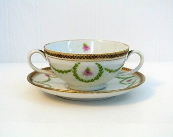 Antique Austrian China Broth Bowl and Saucer-Double Handled-Rose and Gold-12 SETS-This listing is for ONE set.