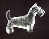 Kosta Boda Kennel Series Glass Terrier Dog Paperweight ~ Bertil Vallien Design ~ Mid Century Boda Sweden Art Glass Dog