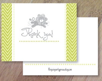 Chevron Lions, FOLDED Thank You Cards, Set of 10 Cards, Professionally Printed