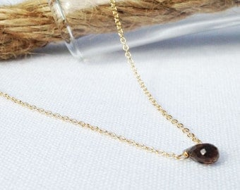 Smoky Quartz Necklace - Gold Smokey Quartz Necklace - Dainty Necklace - Tiny Gemstone - 14k Gold Filled - Brown Stone