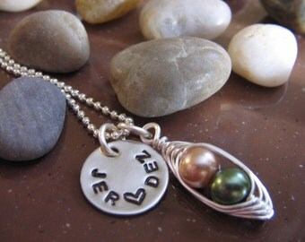 Girlfriend necklace, his and her, Best Friends necklace, initials, bridal gift, anniversary necklace, peas in a pod necklace, bride necklace