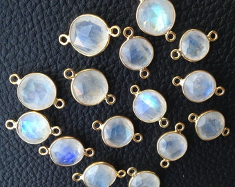925 Sterling Silver, Blue Flashy Rainbow Coins Connectors, 24K Gold Plated Connector,ONE Piece of 14-15mm