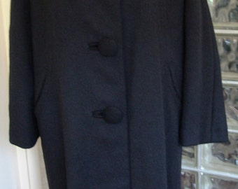 Vintage 50s 1950s Black Wool Gored Back Long Sleeve Tailored Princess Tapered Coat M