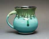 Handmade porcelain coffee mug or teacup turquoise blue 12 oz 2020