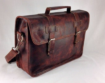"DIAZ 15"" Genuine Leather Briefcase / Laptop Satchel / Messenger Shoulder Bag in Crazy Horse Dark Brown - MacBook Air Pro"