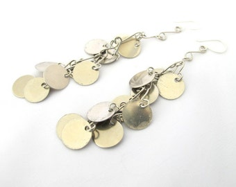Belly dancing earrings, ethnic coin dangle earrings, silver tribal earrings