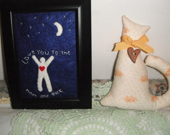 Love You to the Moon and Back / Fiber Art / framed Art OOAK