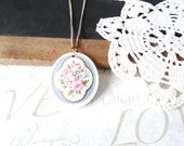 the english GARDENER vintage pink rose pastel pendant necklace A5 (gold)