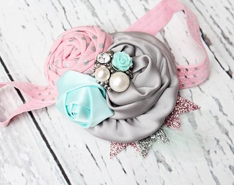 Morning Star-- aqua mint pink and silver sparkle ruffle and rose headband