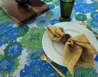 Mod Tablecloth Floral in Blue, Aqua, and Green