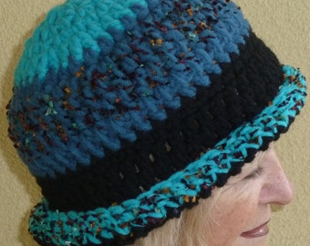 Crochet Winter Hat / Women Unique  Clothing / Blue Bohemian Accessory / Unique Hat