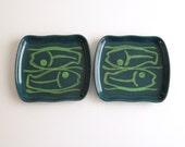 2 Glidden Mid Century Modern Green Fish Pisces 410 Plates
