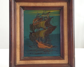 Vintage Mid Century Abstract Sailing Ship Framed Painting by Grant
