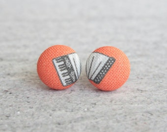 Accordion Fabric Button Earrings