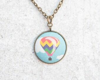 Hot Air Balloon, Fabric Button Pendant Necklace