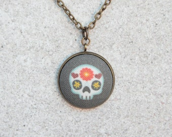 Sweet Sugar Skull, Fabric Button Pendant Necklace