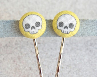 Adorable Skulls, Fabric Covered Button Bobby Pin Pair