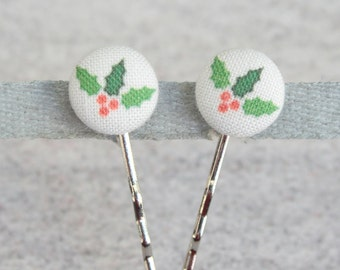 Holly, Fabric Covered Button Bobby Pin Pair