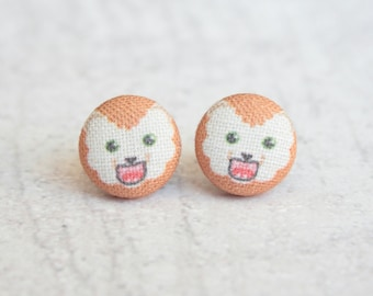 Lion Fabric Button Earrings